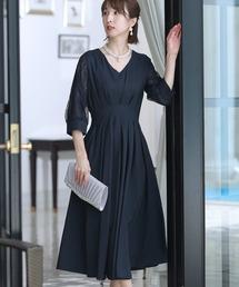 ドレス 結婚式ワンピースドレス袖ありとロングタックデザイン大きいサイズフォーマル|ZOZOTOWN PayPayモール店