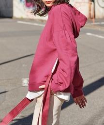 パーカー 【BASQUE -enthusiastic design-】ビッグシルエット サイドリボン レイヤードデザイン プルパーカー(長袖) ZOZOTOWN PayPayモール店