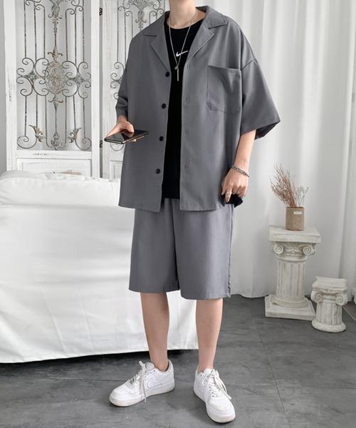 セットアップ 人気 おすすめ オープンカラーシャツ×ハーフパンツ デポー