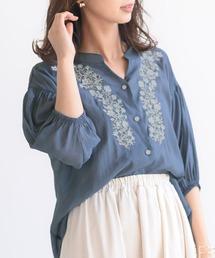 シャツ ブラウス 刺繍入りバンドカラー5分袖シアーシャツ|ZOZOTOWN PayPayモール店