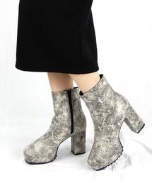 ブーツ チャンキーヒール厚底ミドルブーツ ■ ZOZOTOWN PayPayモール店