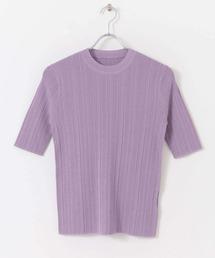 ニット ランダムリブクルーネックセーター(5分袖) ZOZOTOWN PayPayモール店